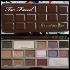 Too Faced Chocolate Bar Palette & the shade names