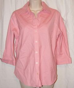 $15.99   Eddie Bauer Wrinkle Resistant Pink White 3/4 Sleeve Career Shirt Top M