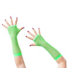 Netzhandschuhe lang fingerlos Party Karneval Fasching - neon grün in Feierlichkeiten / Anlässe   • Karneval Fasching Party • Handschuhe