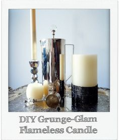 DIY Grunge-Glam Flameless Candle tutorial... bring a little 90's back to your home with this easy craft! Great for teenage girls and weddings, too.