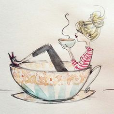 I love Anne Higgins illustrations- they are all so beautiful. This one just covers my love for coffee. I Love Coffee, Coffee Art, Coffee Cups, Coffee Barista, Coffee Drawing, Coffee Menu, Coffee Painting, Coffee Poster, Starbucks Coffee