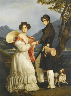 """Princess Ludovika of Bavaria and Duke Maximilian Joseph in Bavaria. They had known each other since childhood and were married on September 9, 1828. Contrary to her three sisters, she did not marry into a Royal family, but into a branch of the house of Wittelsbach. That her husband, and thus the line of Birkenfeld-Gelnhausen, was granted the title """"Herzog in Bayern"""" (Duke in Bavaria), was only a small consolation for the disappointed Ludovika."""