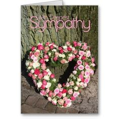 Pink Roses heart sympathy card