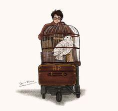 little Harry off to Hogwarts by jpaddey