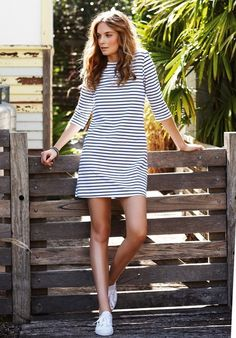Striped dress + sneaks - Click image to find more Women
