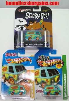 HOT WHEELS LOT OF 3  SCOOBY DOO THE MYSTERY MACHINE  ADD THESE REALLY COOL CARS TO YOUR COLLECTION  1) 2012 NEW MODELS THE MYSTERY MACHINE  2) 2013 HW IMAGINATION THE MYSTERY MACHINE  3) 2012 RERO THE MYSTERY MACHINE  THESE CARS ARE IN THEIR ORIGINAL PACKAGING AND AS YOU CAN SEE BY THE PHOTOS ARE IN GREAT CONDITION, $19.88