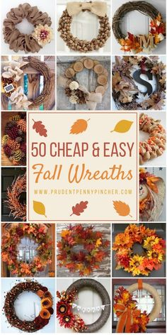50 Cheap and Easy DIY Fall Wreaths – Thanksgiving Decorations – Grandcrafter – DIY Christmas Ideas ♥ Homes Decoration Ideas Easy Fall Wreaths, Diy Fall Wreath, Fall Diy, How To Make Wreaths, Cheap Wreaths, Holiday Wreaths, Diy Burlap Wreath, Ribbon Wreath Tutorial, Autumn Wreaths For Front Door