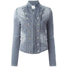 Pierre Balmain Denim Blazer ($555) ❤ liked on Polyvore featuring outerwear, jackets, blazers, blue denim blazer, jean blazer jacket, blue denim jacket, military blazer and denim jacket