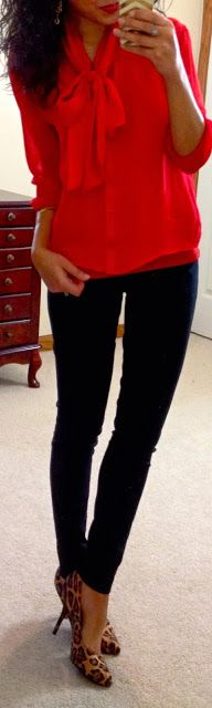 Hello, Gorgeous!: red blouse, leggings, leopard print = excellent look for Valentines Day casual...