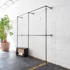 Clothes stand - open closet - wardrobe - clothing rail - industrial design - steel pipes - TWO x TWO Wardrobe Rail, Hanging Wardrobe, Wardrobe Systems, Wardrobe Closet, Closet Bedroom, Wardrobe Clothing, Hanging Clothes Racks, Hanging Racks, Clothes Hanger