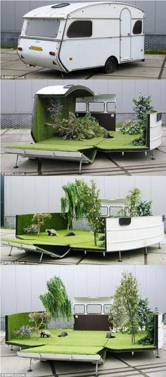 """CARAVAN GARDEN~  In 2012, Amsterdam artist Kevin van Braak stripped the inside of a 1976 Constructam Caravan, then cut it in half.  His intention was to provide a portable garden that seated up to 15 people.  Closed, it looks like any other caravan, but according to Braak """"opened it manifests itself as an artificial garden, park or camping sight. Inside the caravan, there are stuffed animals, artificial grass silk flowers and trees, a sound installation with bird sounds and a BBQ. """""""