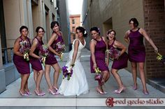 Downtown Madison Wisconsin Bridesmaids in Short Red Violet Deep Pink Dresses