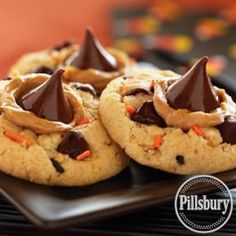 Funfetti® Halloween Peanut Butter and Chocolate Cookies from Pillsbury™ Baking