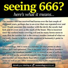 Seeing 666? Learn more at http://numerologysecrets.net/numerology-666-meaning