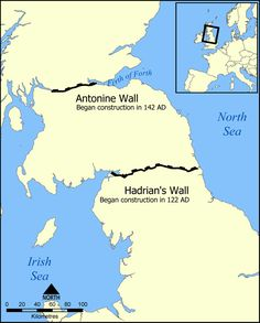 Pictured here is a map of Hadrian's wall, to give a scope of how far it stretched across Britain. As you can see in the map it is really impressive how far it stretched and how it was constructed in 122 AD by orders of Emperor Hadrian. The purpose was to divide the Roman Empire from the unconquered barbarians of the north. WIKIPEDIA