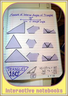Triangle Classification and Interior Angle Measurement-- Interactive Notebook Pages