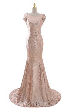 Women's Rose Gold Sequins Long Mermaid Bridesmaid Dress Prom Gowns