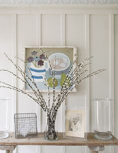 Pussy willows on antique console table.  The Paper Mulberry