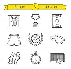 Football shirt, shorts and boots. Soccer field, whistle, trop by Icons Factory Pencil Illustration, Graphic Design Illustration, Soccer Pro, Soccer Sports, Kids Soccer, Soccer Games, Football Doodle, Football Icon, Football Stadiums