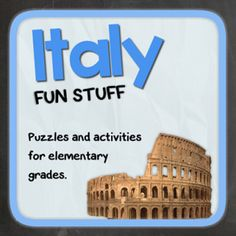 Italy (Fun stuff for elementary grades) from Thematic Worksheets on TeachersNotebook.com -  (14 pages)  - Let's explore Italy with puzzles and other fun activities. This supplemental resource is great for a country unit. Montessori Activities, Educational Activities, Learning Activities, Italy For Kids, Italian Theme, World Thinking Day, World Geography, Theme Days, Thematic Units