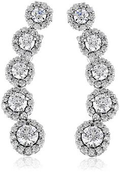 PlatinumPlated Sterling Silver Swarovski Zirconia Fashion Forward Climber Earrings ** Continue to the product at the image link.