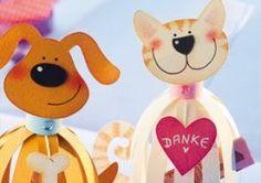 Süße Tierfiguren aus Papierstreifen