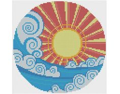 Ocean Sunset - Counted Cross Stitch Pattern by HornswoggleStore, $6.00 (easy, sunrise, surf, beach, sunshine, sun, water)