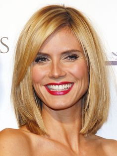 Heidi Klum hair: side parted long bob. Thinking of getting my hair cut like this