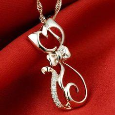 Pendants - Trendy 18K Rose Gold Sterling Silver Cat Pendant Necklace