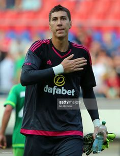 Costel Pantilimon of Sunderland reacts during a Pre-Season friendly match between Hannover 96 and Sunderland AFC at the HDI Arena on August 01, 2015 in Hannover, Germany.