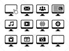 Computer Screen Black Icons Set  #GraphicRiver         Monitor display icons set – media, video, gallery, web, mail   FEATURES :   100% Vector Shapes  All groups have names  All elements are easy to modify – you can change coulours, size  Pack include version AI, EPS , JPG      Created: 3December12 GraphicsFilesIncluded: JPGImage #VectorEPS #AIIllustrator Layered: Yes MinimumAdobeCSVersion: CS Tags: app #application #black #business #computer #contact #email #envelope #gallery #icons…