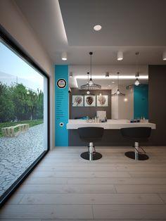 Hairdresser interior design in Biala POLAND - archi group. Salon fryzjerski w Białej.