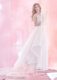 Lennon HP6512 Haley Paige Ivory pleated English net ball bridal gown, V-neck ballerina bodice with geometric art deco beading, full layered skirt of English net and organza.