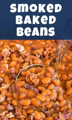 Every BBQ needs a side dish of Smoked Baked Beans! There's a secret ingredient in this recipe that makes them the BEST! They're smoky, sweet, and flavorful! Baked Beans In Oven, Smoked Baked Beans Recipe, Best Baked Beans, Baked Beans With Bacon, Homemade Baked Beans, Baked Bean Recipes, Smoked Meat Recipes, Crockpot Baked Beans, Venison Recipes