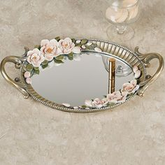 The Magnolia Elegance Floral Mirrored Vanity Tray blooms with Southern charm and sweet grace. Cream and blush magnolias bloom in swags around the frame. Bathroom Vanity Tray, Mirror Vanity Tray, Gold Bathroom, Diy Vanity, Glass Bathroom, Mirrored Vanity, Vanity Room, Sculpture Painting, Ceramic Flowers