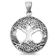 925 Sterling Silver Celtic Tree of Life Necklace Pendant Free Silver Box Chain