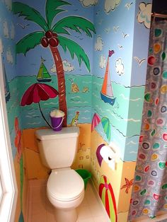 Hand painted private room. Too cute to waste on a toilet room, to me.