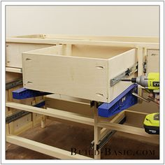 Build a DIY 7 drawer dresser. Building Drawers, Building Furniture, Furniture Projects, Furniture Plans, Kitchen Furniture, Wood Projects, Diy Furniture, Diy Dresser Plans, 7 Drawer Dresser