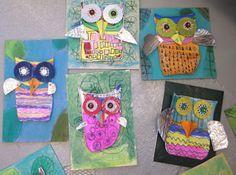 3D Mixed Media Owls   www.smallhandsbigart.com/blog
