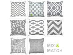 1 pillowcase graphic pattern GOTCHA 50 x 50 cm grey white