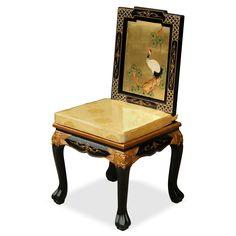 Gold Leaf Crane Motif Harpsichord Style Desk w/ Chair