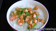 Fried Salmon with Garlic and Oyster Sauce on Rice  : ข้าวหน้าปลาแซลมอน