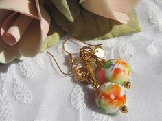 Lamp Work Dangle Earrings Lentil Beads in by MoonwitchDesigns, $20.00