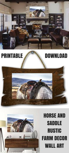 Horse And Saddle Photograph Wall Art, Cowboy Western Art, Horse, Country Western, Saddle, Country Farm Decor, Instant Download Printable  (affiliate)