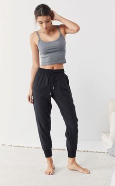 Out From Under Piper Woven Jogger Pant - Style - Punk Black Joggers Outfit, Jogger Pants Outfit, Sweatpants Outfit, Lounge Pants Outfit, Cute Sweatpants, Green Joggers, Black Jogger Pants, Lazy Outfits, Casual Outfits