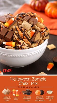 Whip up a quick mixture of vanilla and cinnamon chex, candy corn,  vanilla and chocolate melts, and mini chocolate candy to create this Halloween chex mix!