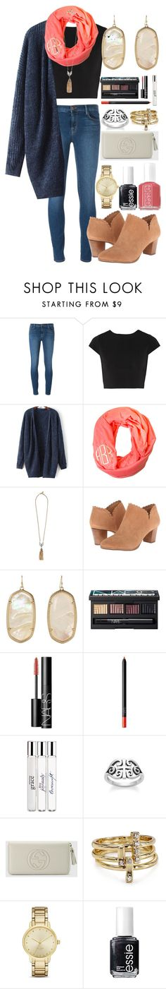 """""""In a rush!"""" by classically-kendall ❤ liked on Polyvore featuring J Brand, Alice + Olivia, Lulu Frost, Jack Rogers, Kendra Scott, NARS Cosmetics, philosophy, Avery, Gucci and Jules Smith"""