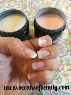 Light Pink & French White EZdip Gel Powder. DIY EZ Dip. No lamps needed, lasts 2-3 weeks! Salon Quality done right in your own home! For updates, customer pics, contests and much more please like us on Facebook https://www.facebook.com/EZ-DIP-NAILS-1523939111191370/ #ezdip #ezdipnails #diynails #naildesign #dippowder #gelnails #nailpolish #mani #manicure #dippowdernails