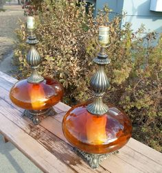 Vintage Pair of Mid Century Modern Table Lamps Lighting Hollywood Regency Hand Blown Orange Glass Antique Brass Night Light