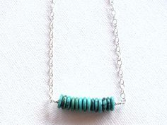 Sterling silver turquiose necklace, gemstone bar necklace,  beadwork, turquoise pendant,  layering necklace,